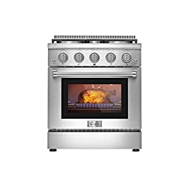 Empava 30 in. 4.2 cu. ft. Pro-Style Slide-In Single Oven Gas Range with 4 Sealed Ultra High-Low Burners-Heavy Duty Continuous Grates in Stainless Steel, 30 inches, Black 4 The slide-in gas range offers the heavy-duty cast iron grates and 4 versatile burners, two single 18000-BTU burners, one single 12000-BTU burner, a dual ring 15000-BTU burner (650-BTU for simmer) distribute even heat for simmer, boil, stir-frying, steaming, melting or even caramelizing! The deep recessed gas range with an automatic reignition ensures a continuous flame and reignites automatically if accidentally extinguished. The zinc alloy control knobs with a blue LED lights that allows you to see if the cooktop is turn on from a distance. The stainless-steel gas range with a brilliant blue interior, the temperature can be set up from 150°F to 500°F help you to cook perfectly and accurately. It's good for broil, bake, defrosting, dehydration, preheating.
