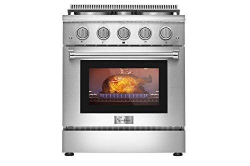 Empava 30 in. 4.2 cu. ft. Pro-Style Slide-In Single Oven Gas Range with 4 Sealed Ultra High-Low Burners-Heavy Duty Continuous Grates in Stainless Steel, 30 Inch, Black