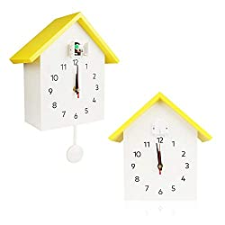 Cuckoo Clock Cuckoo Wall Clock, Natural Bird Voices Or Cuckoo Call, Design Clock Pendulum, with Timed Alarm Clock,Bird House, Wall Art Home Living Room Kitchen Office Decoration (Yellow&White)
