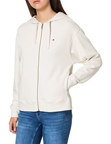 Tommy Hilfiger Damska bluza z kapturem oversize z zamkiem błyskawicznym Ls bluza z kapturem, kość słoniowa, XL