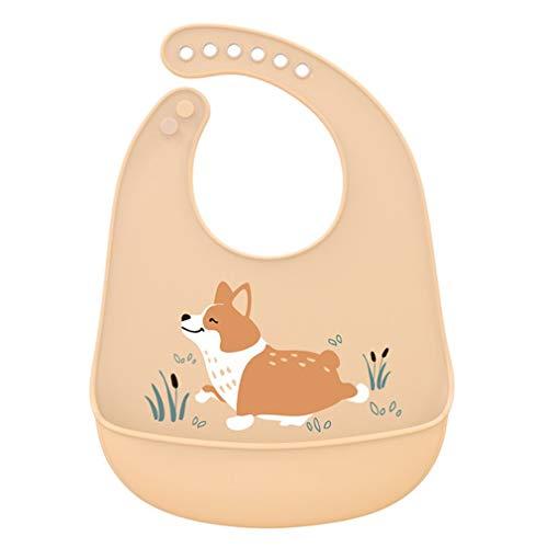 Babero portátil para bebé, Ajustable, con Forma de Animal, Impermeable, con Goteo de Saliva, Babero, Toalla de Silicona Comestible Suave (Amarillo)