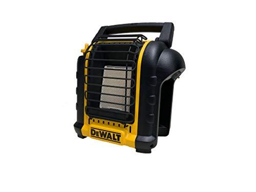 DEWALT DXH8BX - Estufa portátil - 1,15 / 2,4 kW - se conecta directamente a un cartucho de gas de 450 gramos y es la solución perfecta para calentar habitaciones cerradas de hasta 21 m².