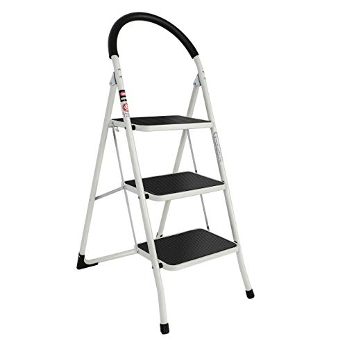 EFINE 3 Step Ladder Folding Step Stool 3 Step ladders with Handgrip Anti-Slip and Wide Pedal Sturdy Steel Ladder 330lbs White and Black Combo 3 feet 3 Step Ladder