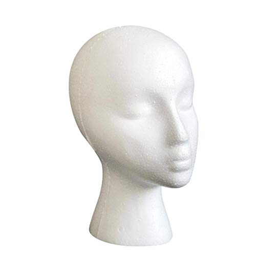 Styrofoam Mousse Mannequin Femme Tête Modèle Dummy Perruque Lunettes Présentoir Mannequin TêTe Mannequin en Mousse Mannequin Femme en Styromousse Support Pour Perruque Chapeau