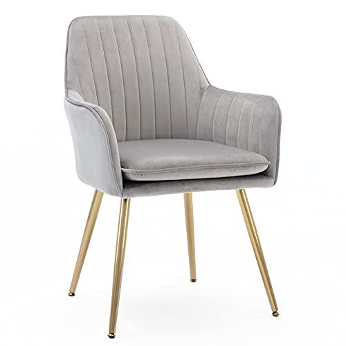 Five Stars Furniture Velvet Dining Chair,Accent Chair, Modern Leisure Armchair Living Room Chair,Home Desk Chair,Golden Metal Legs (Gray) Set of 1