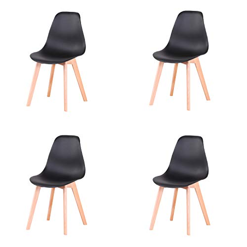 GrandCA Set di 4 sedie, sedie in Stile Nordico con Gambe in Legno massello, sedie per Soggiorno, sedie per Cucina,sedie per Ufficio (Nero)