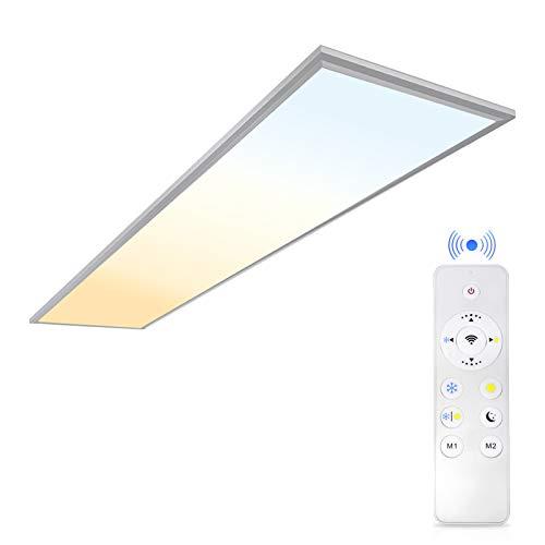 OUBO LED Panel 120x30cm Dimmbar und Farbwechsel 2700-6500K 36W 3500lm Weißrahmen, LED Deckenleuchte mit Fernbedienung, Küchenlampe Wandleuchte, inkl. LED Trafo und Anbauwinkel