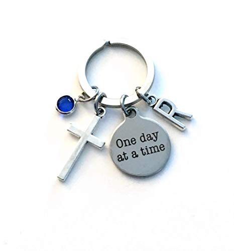 One Day at a Time personalized keychain Keyring Alcoholics Anonymous Narcotics Anonymous Al-anon