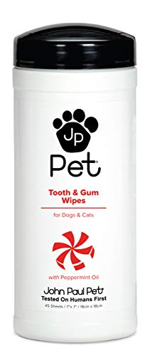 John Paul Pet Tooth and Gum Pet Wipes for Dogs and Cats, Infused with Peppermint Oil, 7' x 7' Sheets in 45-Count Dispenser