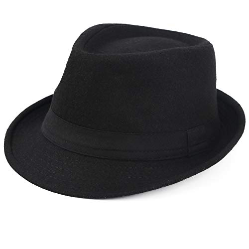 Melesh Unisex Classic Trilby Fedora Hat (Black)