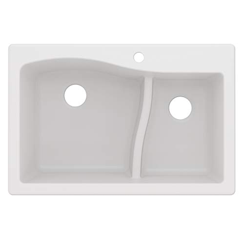 Kraus Quarza Kitchen Sink | 33-Inch 60/40 Bowls | White Granite |...
