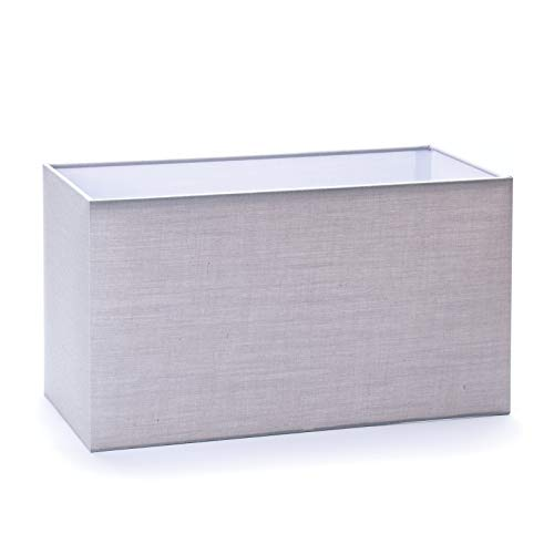 Pantalla de tela para lámpara E27 rectangular, color blanco, 32 cm, 40 cm, pantalla de tela rectangular, gris, 32x16x18 grau