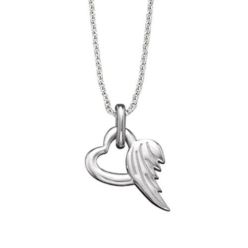 Herzengel Kette mit Herzengel Anhänger für Mädchen 925er-Sterlingsilber rhodiniert Länge 38 cm plus 4 cm