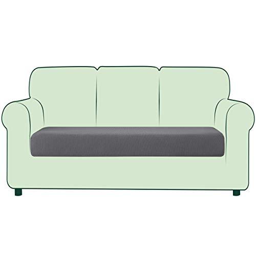 CHUN YI 1 Stück Sofa Sitzkissenbezug Stretch Sitzkissenschutz Elastischer Husse Überzug für Sofa Sitzkissen rutschfest Stoff Möbelschutz (Hellgrau, 3-Sitzer)