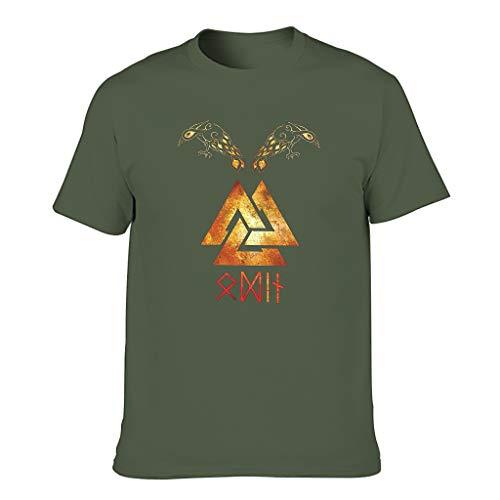 Camiseta de cuello redondo para hombre, estilo vikingo, valknut celta, Odin con dos cuervos impresos, estilo informal verde militar XL