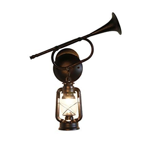 YXB Hause Lautsprecher Wandleuchte, Retro American Village Kreative Eisen Restaurant Gang Antike Klassische Petroleumlampe Laterne E27 Einstellbare hängende Wandleuchte LED-Licht (Farbe: Single)