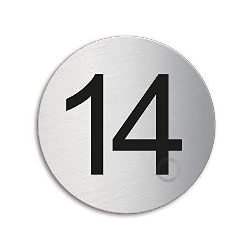 Plaque Numéro de porte 14 | Ø 75 mm autocollant | acier inox brossé 40084