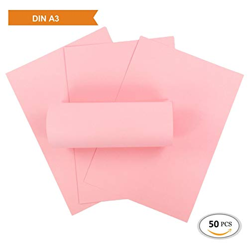 ZADAWERK® Tonkarton - 230 g/m² - DIN A3 - Rosa - 50 Stück - basteln - Kinder