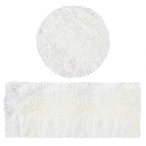 Area Rug 2 x 5 patas rectangulares y 3 x 3 patas redondas, color blanco