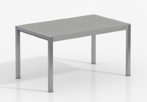 Mesa Extensible Concept - Encimera Porcelanico Cemento/Patas Aluminio, 110X70 cms