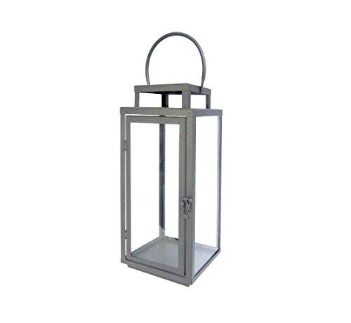 Bodenlaterne aus Metall Laterne Lampe Garten Deko Modern Design Eckig Grau (13x13xH31 cm)
