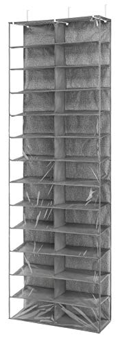 Whitmor Over The Door Shoe Shelves - 26 Sections - Crosshatch Gray