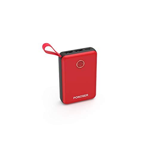 Ponoser Batería Externa, Mini Power Bank 10000Mah Cargador Portátil con Gran Capacidad y Doble Salida USB, para, Samsung Galaxy, Huawei Y Otros Smartphones y Tableta(Rojo)