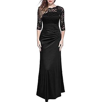 TIFENNY Women's Retro Floral Formal Vintage Dress 2/3 Sleeve Lace Patchwork Round Neck Slim Wedding Maxi Dress