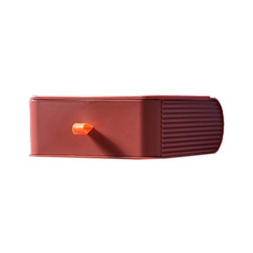 FUNCOCO Soporte de Almacenamiento, Organizador de Escritorio, cajón, Maquillaje, Caja de Almacenamiento de cosméticos, contenedor de joyería apilable, Caja organizadora - Rojo Vino