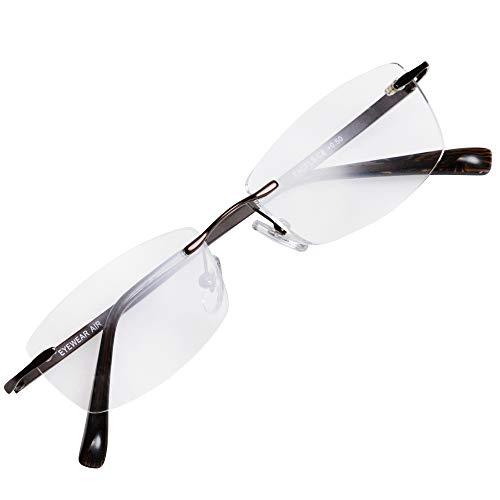 フチなし 軽い 老眼鏡 アイウェアエア おしゃれなフレームレス メンズ レディース ブルーライトカット +0.5〜+2.5 4色 スクエア ブラウン C6 +1.00