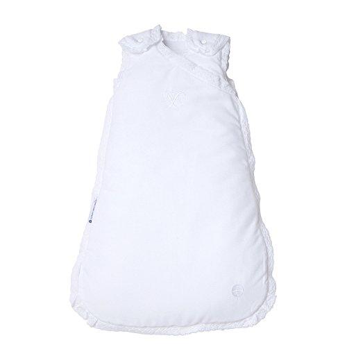 Ganzjahresschlafsack Baby 70cm | Weiß & Spitze | 3-6 Monate | Schlafsack Baby 2 5 tog für 18-21° Raumtemperatur | Babyschlafsack Mitwachsend