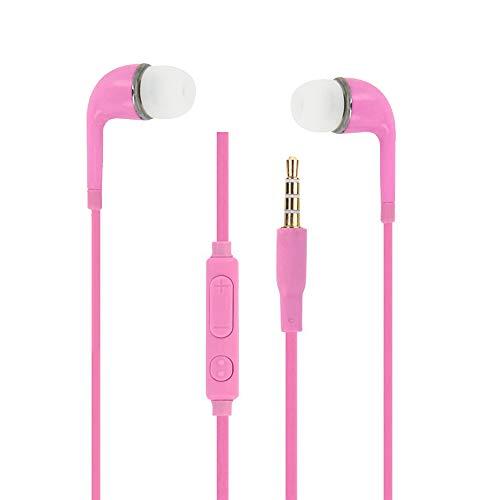 Auriculares Rosas Audio in-Ear de Silicona Ultra Confort Aislamiento el Ruido con Control de Volumen y micrófono para Xiaomi Redmi 3S