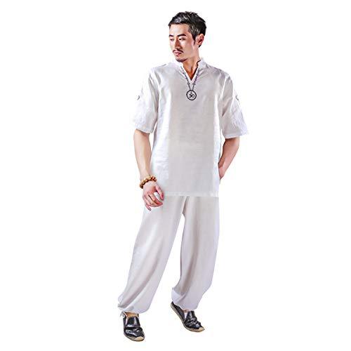 KSUA Traje de Yoga para Hombre con OM Diseño Algodón Zen Traje de meditación Ropa de Artes Marciales de Tai Chi Uniforme Mangas Cortas, Blanco EU S/Etiqueta M