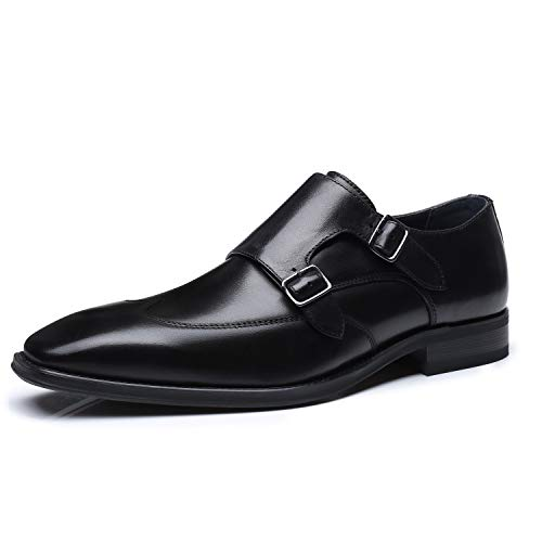 La Milano Men's Double Monk Strap Slip on Loafer Leather Oxford Wingtip Formal Dress Shoes for Men