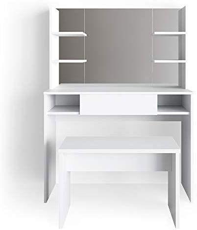 Vicco LED Schminktisch Daenerys Weiß Frisiertisch Frisierkommode Spiegel Hocker (Schminktisch + Bank)