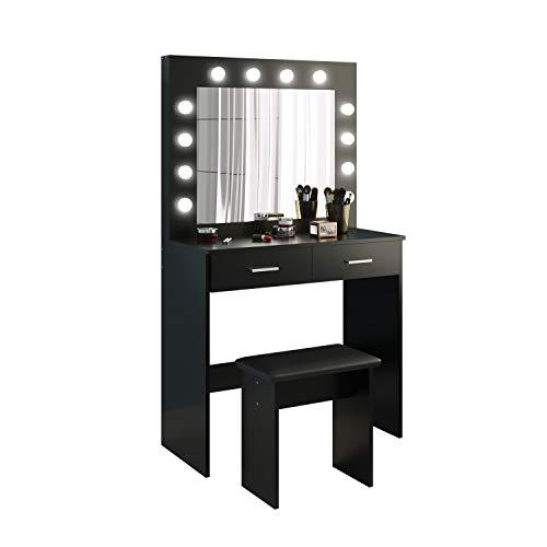 Tocador Mesa de Maquillaje con Hollywood LED Espejo, 2 Cajones Grandes y Taburete, Negro, 80x40x140cm