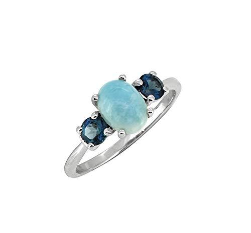 Handmade Jewelry Round Cut London Blue Topaz Gemstone Silver Lady Ring Taille 6-10