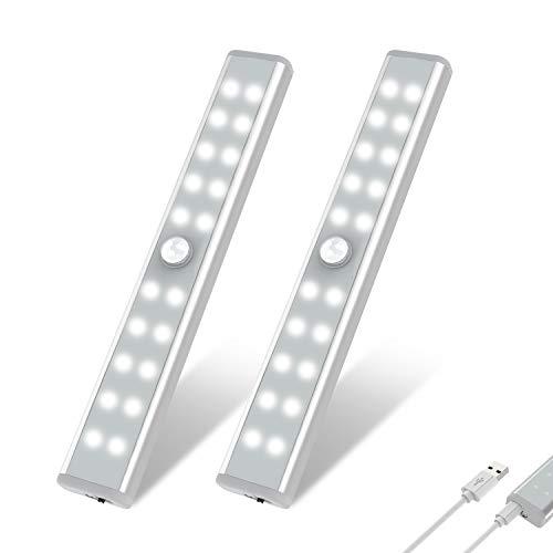 20 LED Closet Light, OxyLED Motion Sensor Closet Lights, Wireless Under Cabinet Lights, USB Rechargeable Stick-on Stairs Step Light Bar, LED Night Light, Safe Light for Wardrobe, Kitchen (2 Packs)