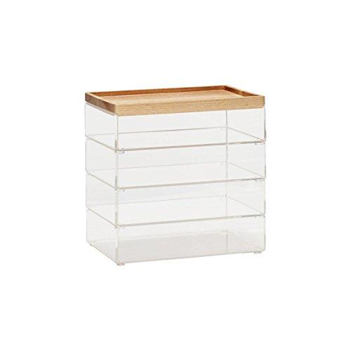 Hubsch Lot de 4 grandes boîtes de rangement en acrylique transparent avec couvercle en bois