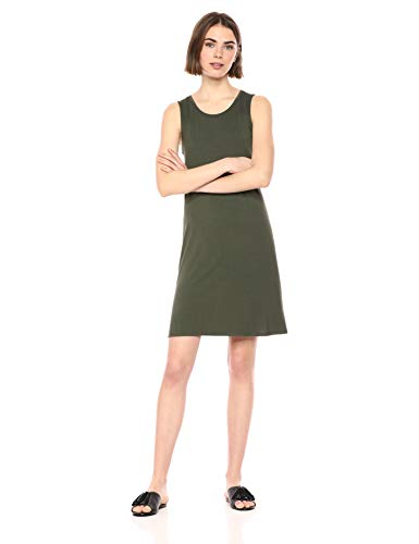 Amazon Essentials Women's Tank Swing Dress, Dark Olive, S