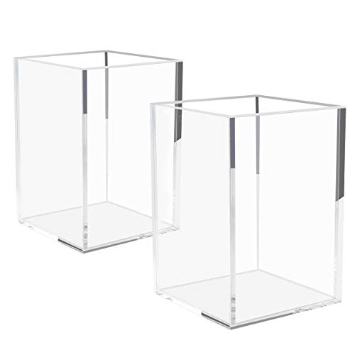 NIUBEE Acrylic Pen Holder 2 Pack,Clear Desktop Pencil Cup Stationery Organizer for Office Desk Accessory
