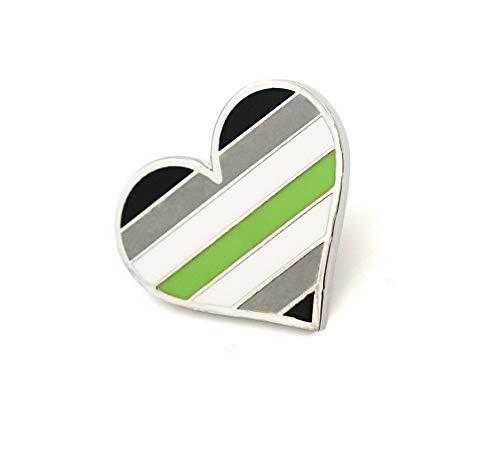 Agender Pride Pin Flag LGBTQ Gay Heart Flag Lapel Pin
