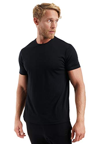 Merino.tech camiseta térmica masculina leve 100% lã merino orgânica, Jet Black, XL
