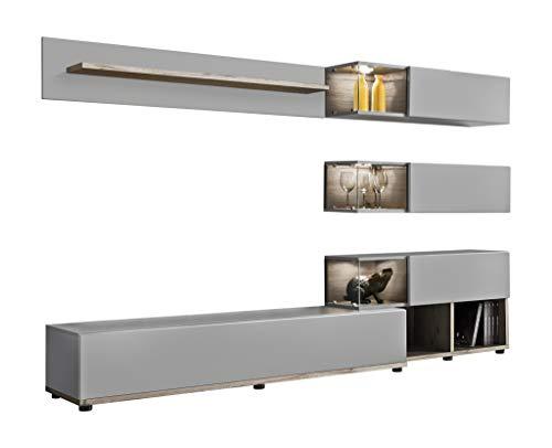 Mueble de salón Modelo Odin Color Gris Perla y Truffle (2,4m)