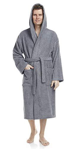 Arus Bademantel-Astra, für Damen und Herren mit Kapuze, wadenlang, 100% Flauschige Baumwolle Frottee, auch als Hausmantel Morgenmantel Saunamantel Größe: S/M, Farbe: Grau