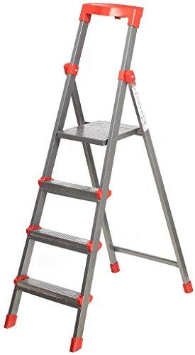 Klapptritt Stehleiter, Aluminium, belastbar 150kg, METALLBASIS (4 Stufen)