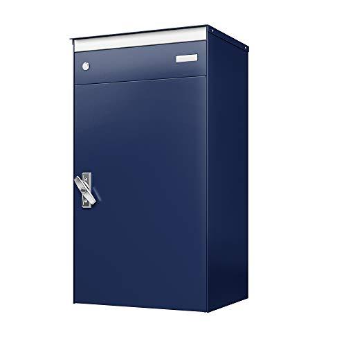 sbox 17 Briefkasten, Briefkasten mit gesichertem Paketschliessfach, einfache Selbstmontage, Hochwertiges Aluminium, 440x800x340mm, Handgefertigt (Saphirblau (RAL 5003))