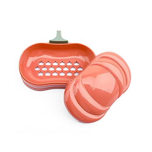 IKAAR Jabonera de calabaza con tapa y soporte para jabón con desagüe para el hogar, viajes, camping, gimnasio