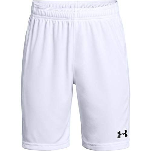 Under Armour Boys' Golazo 2.0 Soccer Shorts , White (100)/Black , Youth Large