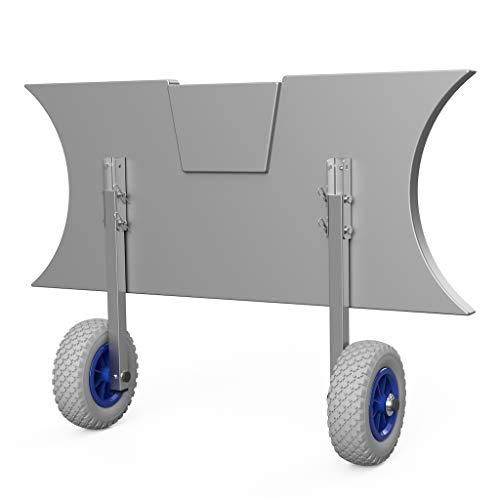 SUPROD Heckräder, Slipräder, Schlauchbooträder, Transporträder, klappbar, ET200, Edelstahl, grau/blau
